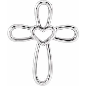 Sterling Silver Cross with Heart Pendant