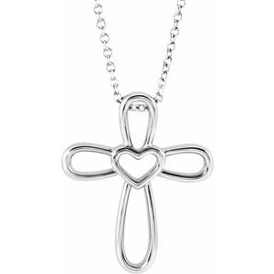 "Sterling Silver Cross with Heart 16-18"" Necklace"