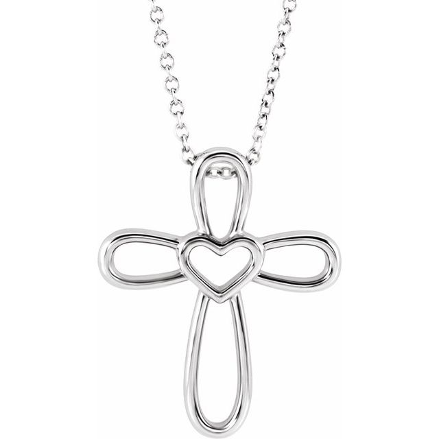 14K White Cross with Heart 16-18