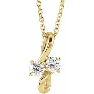 """14K Yellow 1/5 CTW Diamond Two-Stone Bypass 16-18"""" Necklace"""