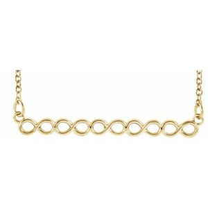 "14K Yellow Infinity-Inspired 16-18"" Bar Necklace"