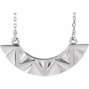 """Sterling Silver Curved Bar 16-18"""" Necklace"""