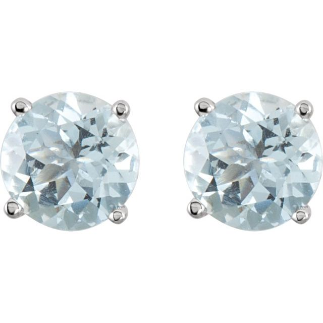 14K White 6 mm Round Aquamarine Earrings