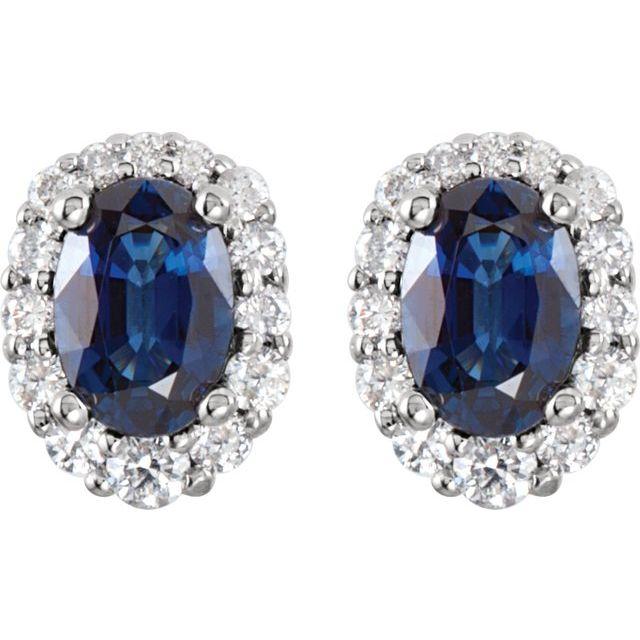 14K White Blue Sapphire & 1/3 CTW Diamond Cluster Earrings
