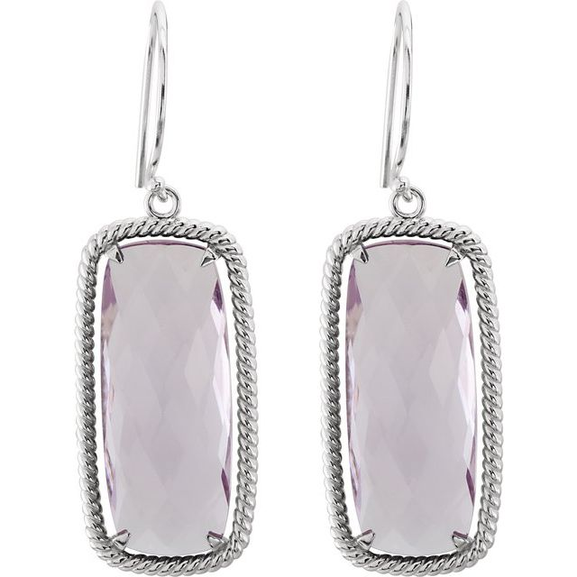 Sterling Silver Cushion Rose Quartz Rope-Styled Dangle Earrings