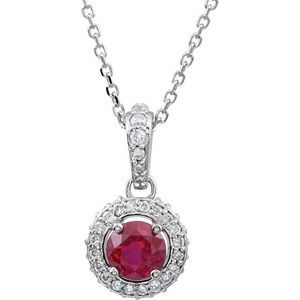 "14K White Ruby & 1/5 CTW Diamond 18"" Necklace"