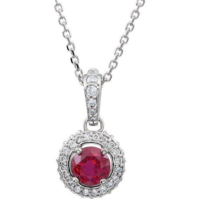 14K White Ruby & 1/5 CTW Diamond 18