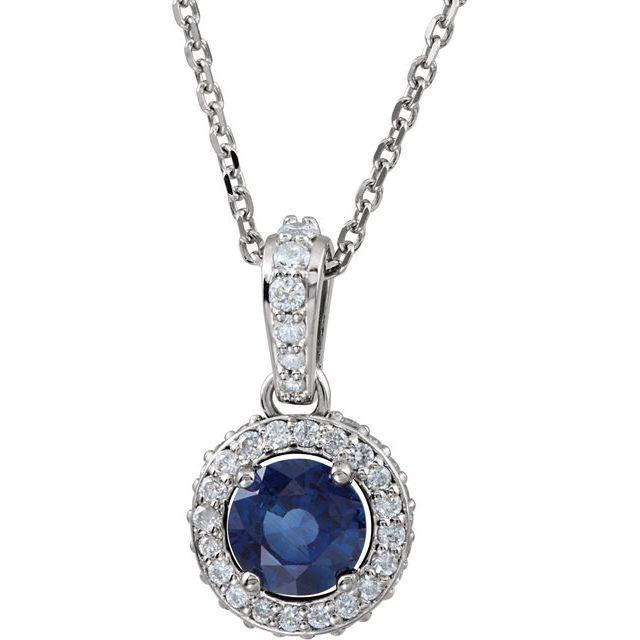 14K White Blue Sapphire & 1/5 CTW Diamond 18