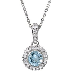 "14K White Aquamarine & 1/5 CTW Diamond 18"" Necklace"