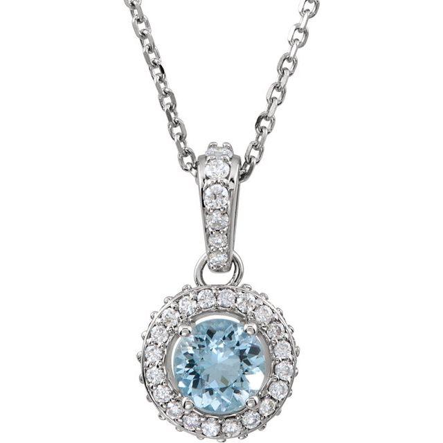 14K White Aquamarine & 1/5 CTW Diamond 18