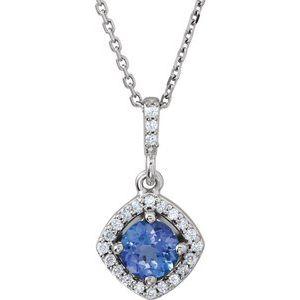 "14K White Tanzanite & 1/8 CTW Diamond Halo-Style 18"" Necklace"