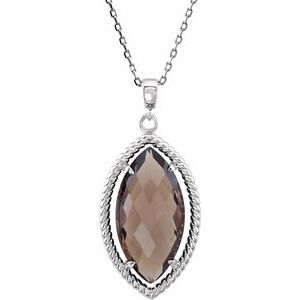 "Sterling Silver Smoky Quartz Rope 18"" Necklace"