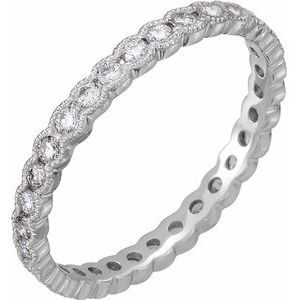 Platinum 5/8 CTW Diamond Eternity Band Size 6.5