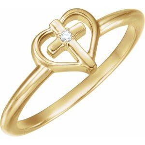 14K Yellow .01 CT Diamond Cross with Heart Ring
