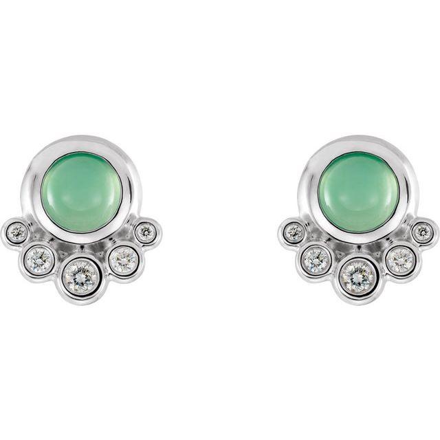 14K White Chrysoprase & 1/8 CTW Diamond Earrings
