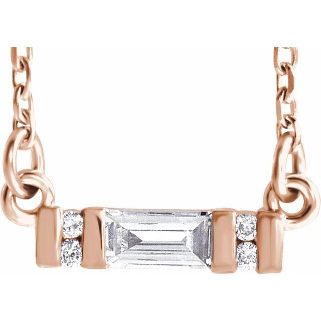 14K Rose 1/10 CTW Diamond Bar 16-18