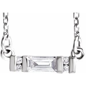 "14K White 1/10 CTW Diamond Bar 16-18"" Necklace"