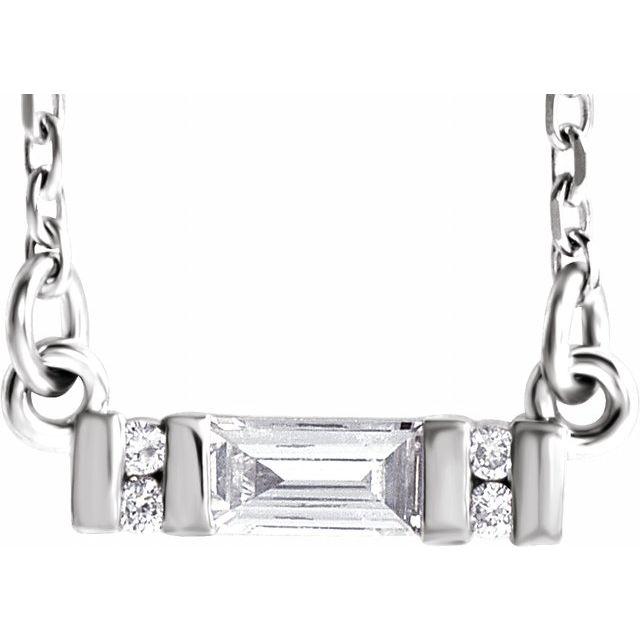 14K White 1/10 CTW Diamond Bar 16-18