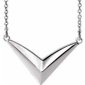 "Platinum ""V"" 16-18"" Necklace"
