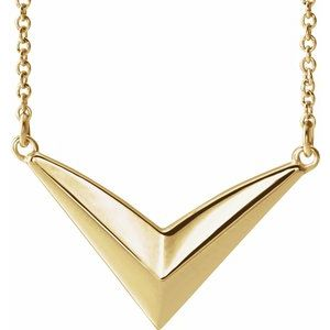 """14K Yellow """"V"""" 16-18"""" Necklace"""