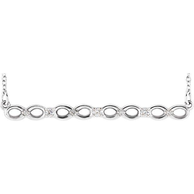 Platinum .08 CTW Diamond Infinity-Inspired Bar 16-18