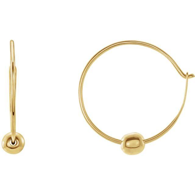 14K Yellow Youth Hoop Earrings with Bead