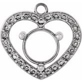Round 3-Prong Halo-Style Heart Dangle