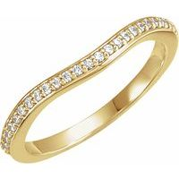 14K Yellow 1/8 CTW Diamond #2 Band for 6 mm Square Engagement Ring