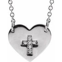 Sterling Silver .02 CTW Diamond Heart & Cross 16-18