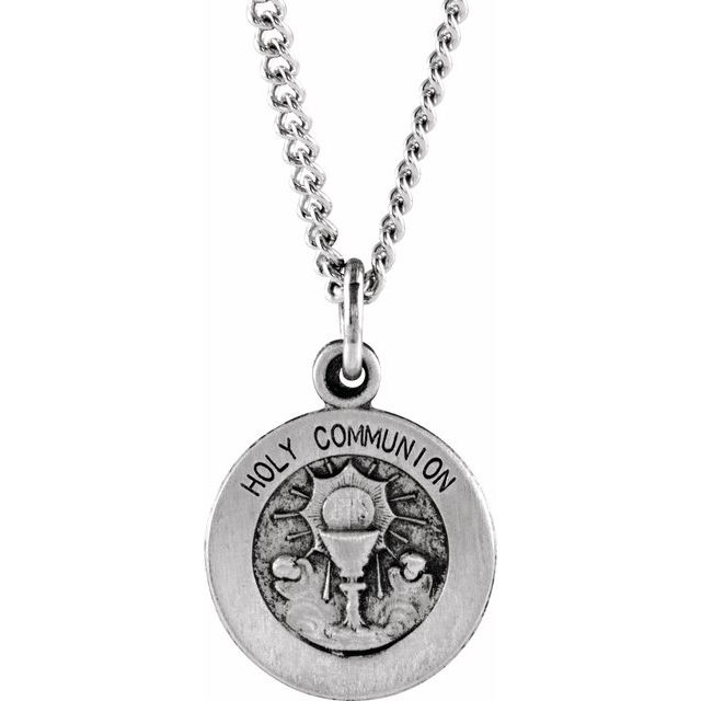 Sterling Silver 12 mm Round Holy Communion Medal with 18
