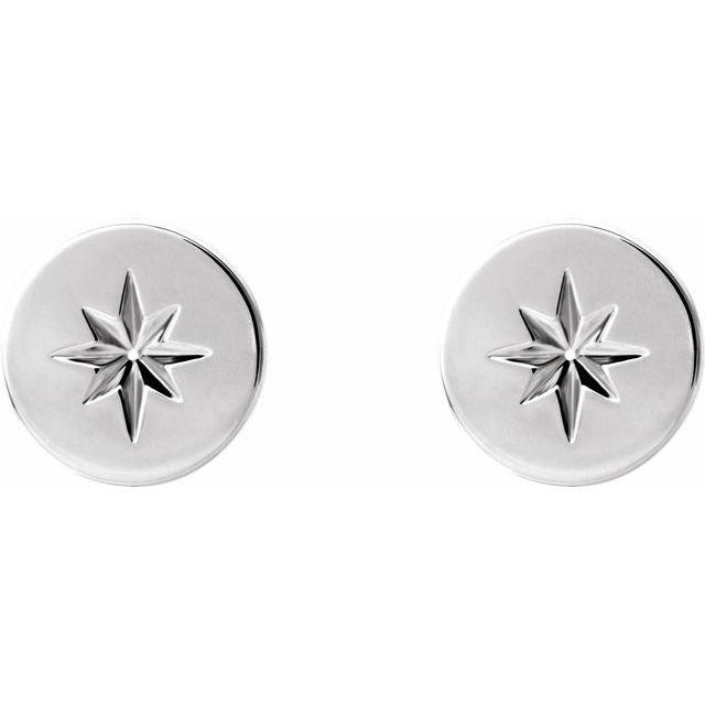 14K White 7.8 mm Starburst Earrings