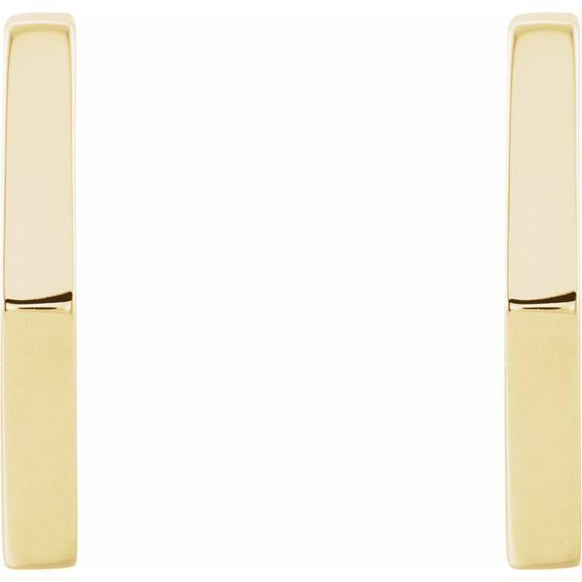14K Yellow Geometric 12.6 mm Huggie Earrings