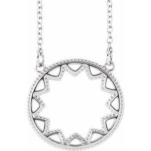 """Platinum Milgrain Sun 16-18"""" Necklace"""