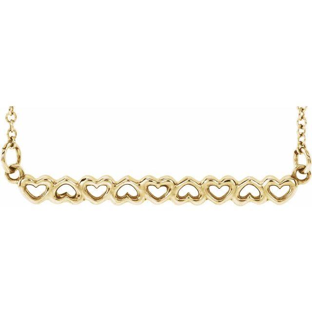 "14K Yellow Heart Bar 16-18"" Necklace"
