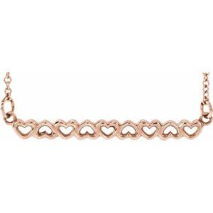 """14K Rose Heart Bar 16-18"""" Necklace"""