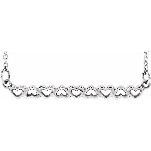 Sterling Silver Heart Bar 16-18