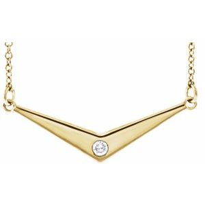 "14K Yellow .03 CTW Diamond Solitaire ""V"" 18"" Necklace"