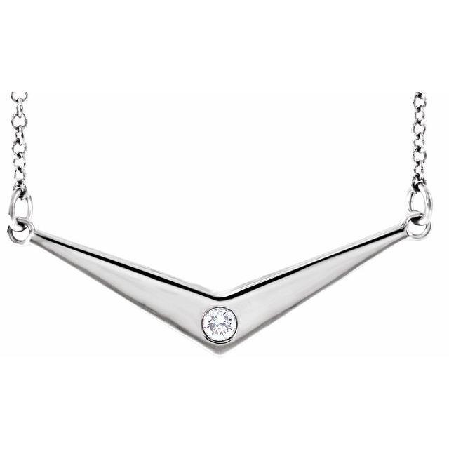 "14K White .03 CTW Diamond Solitaire ""V"" 18"" Necklace"