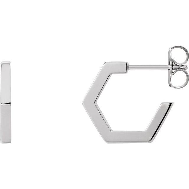 14K White Geometric 12.6 mm Huggie Earrings