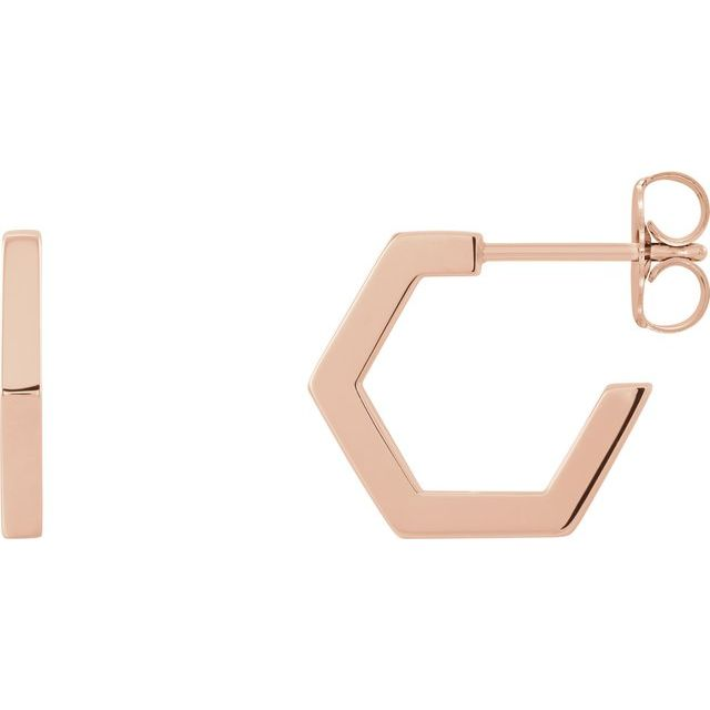 14K Rose Geometric 12.6 mm Huggie Earrings