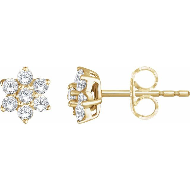 14K Yellow 3/8 CTW Diamond Flower Earrings