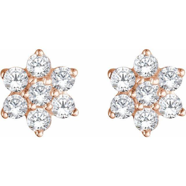 14K Rose 3/8 CTW Diamond Flower Earrings