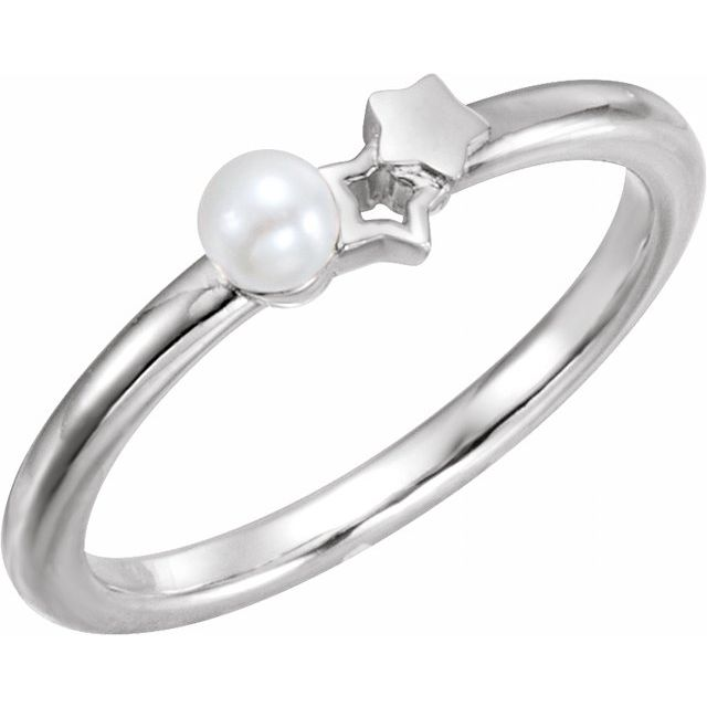 14K White Freshwater Cultured Pearl Youth Double Star Ring