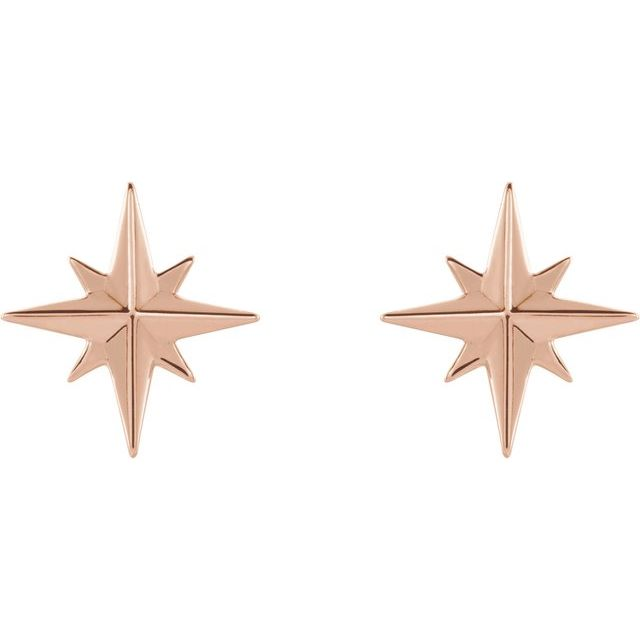 14K Rose Star Earrings