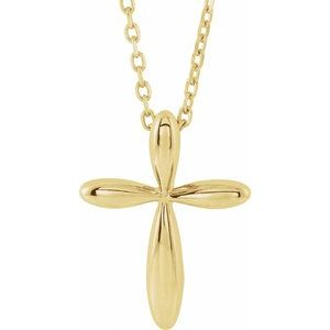 "14K Yellow 14.65x11.2 mm Cross 16-18"" Necklace"