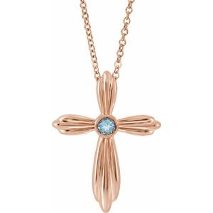 "14K Rose Aquamarine Cross 16-18"" Necklace"