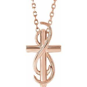 "14K Rose Cross 16-18"" Necklace"