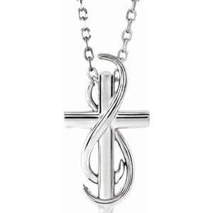 "14K White Cross 16-18"" Necklace"