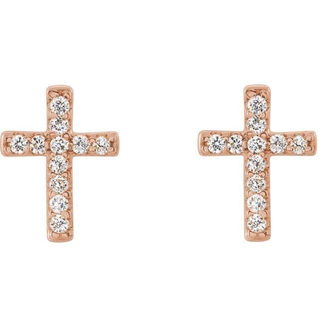 14K Rose .05 CTW Diamond Cross Earrings