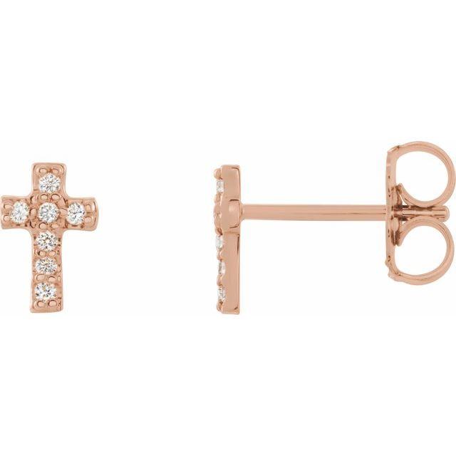 14K Rose .06 CTW Diamond Cross Earrings